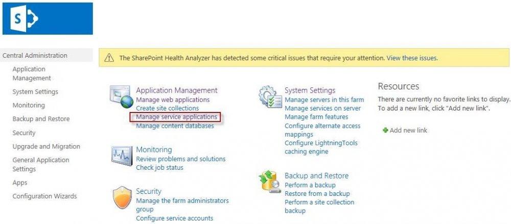 Under Application Management, click Manage service applications