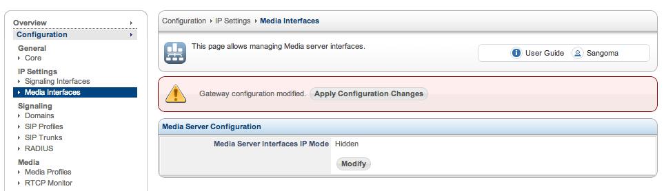 SBC Media Interface Configuration