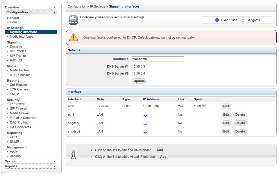 SBC Signaling Interface Configuration