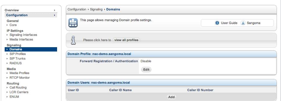 Sangoma SBC Domain Add User