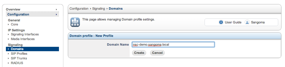 Sangoma SBC Domain Add