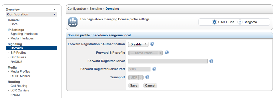 Sangoma SBC Domain Configuration