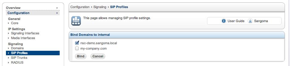 Sangoma SBC SIP Profile bind domain