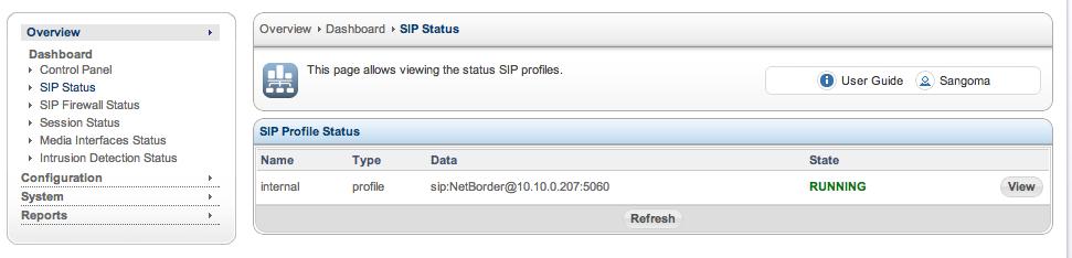 Sangoma SBC SIP Profile Status