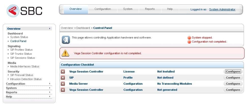 Sangoma SBC Initial WebGUI Screen