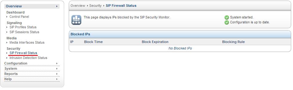 Sangoma SBC SIP Firewall Status