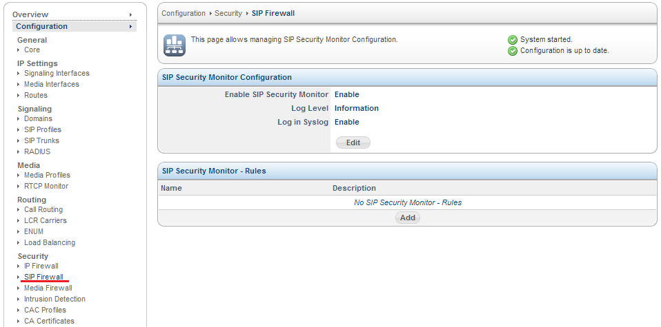 Sangoma SBC SIP Firewall
