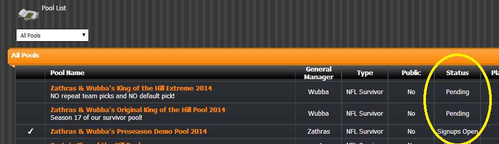 Playing in a pool quickstart guide zathras wubba 39 s for Show pool status not found