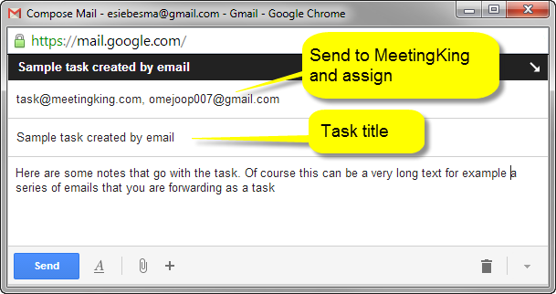 Create tasks via email