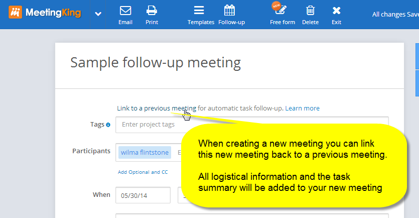 Link your meeting back to a previous meeting for automatic task follow-up