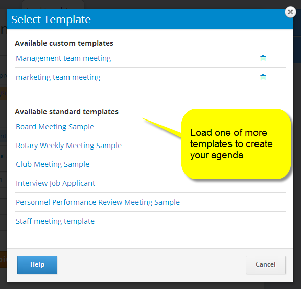 Select one or more standard or custom templates for your agenda and minutes