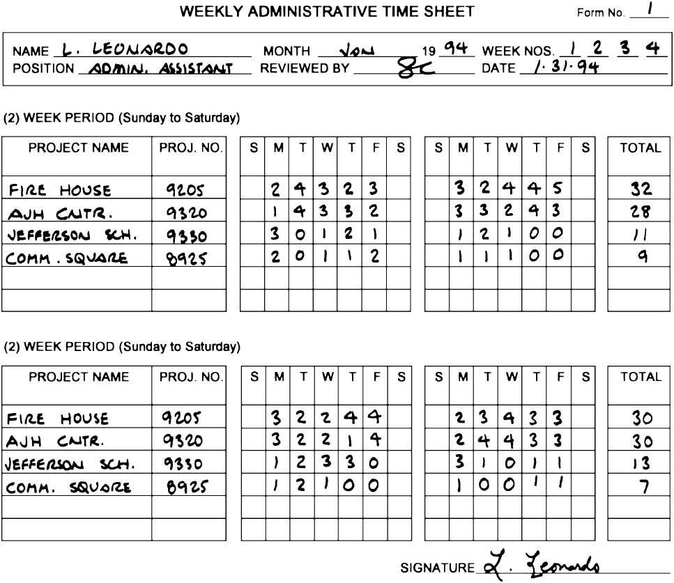 2.7.4 Sample Weekly Administrative Time Sheet—Blank Form (page ...