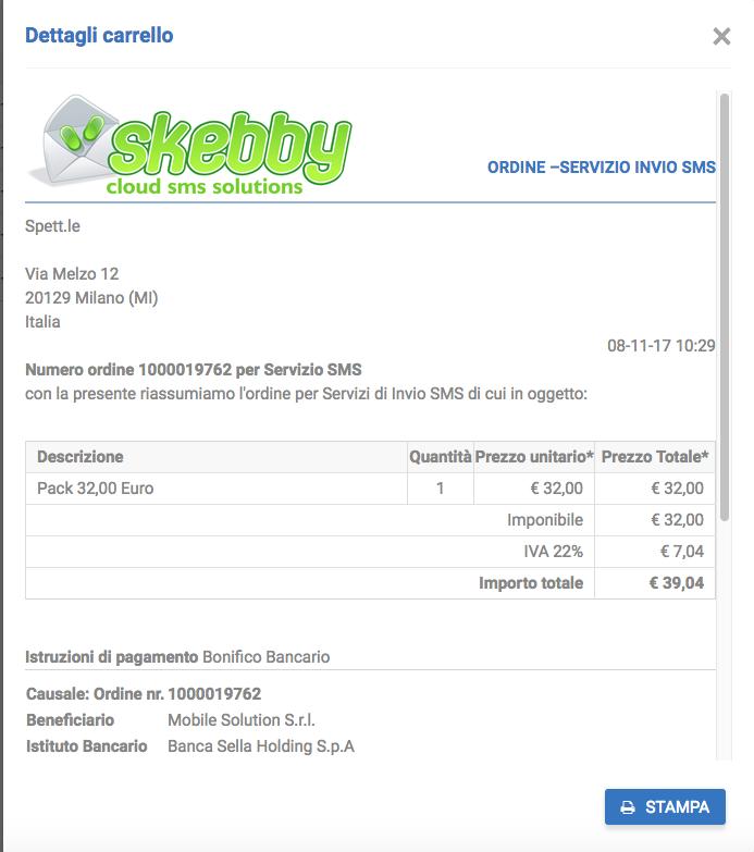 dettaglio riepilogo ordine Skebby SMS