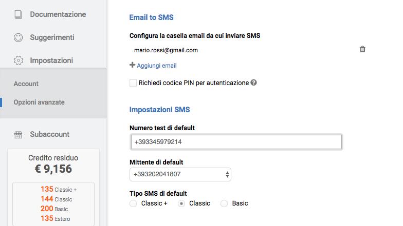 email-to-sms-configurazione