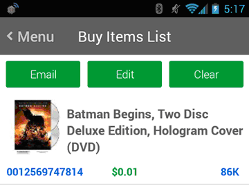 Buy Items List for Android