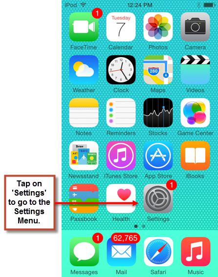 Navigating to Settings on an iPhone