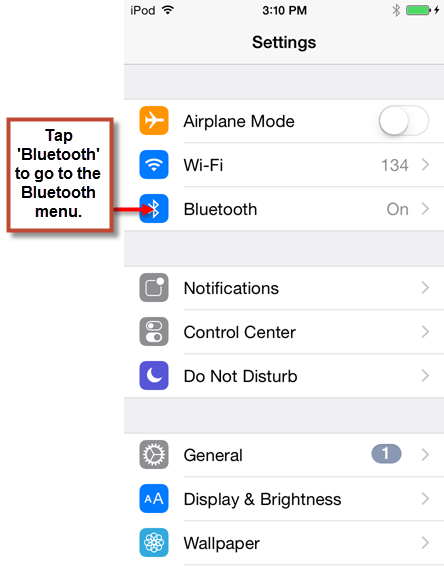 Navigating to the Bluetooth Screen on an iPhone