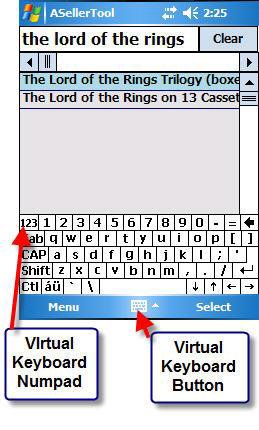 Activating the Virtual Keyboard on the Title Search Screen on PDA