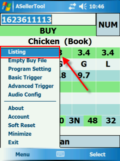 Position of Listing in Menu On PDA