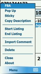 PDA Listing Menu on PDA