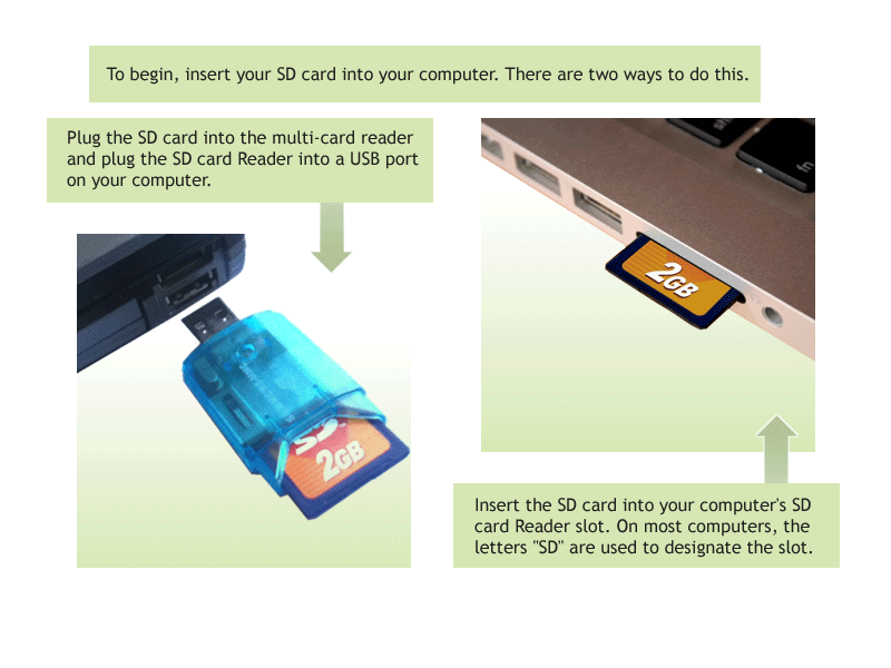 Inserting the USB SD Card Reader or SD Card into the Computer