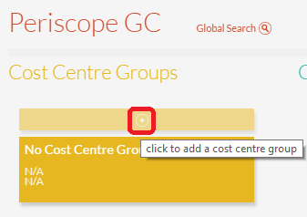 Add New Cost Centre Group