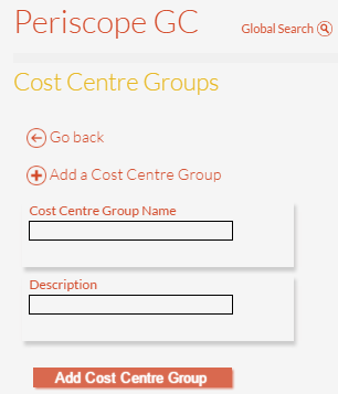 Enter Details for New Cost Centre Group