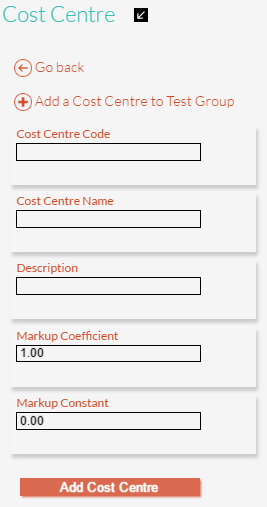 New Cost Centre Details