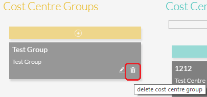 To remove a Cost Centre Group click on the delete icon.