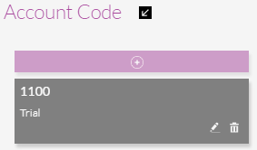 A Selected Account Code with Edit and Remove icons