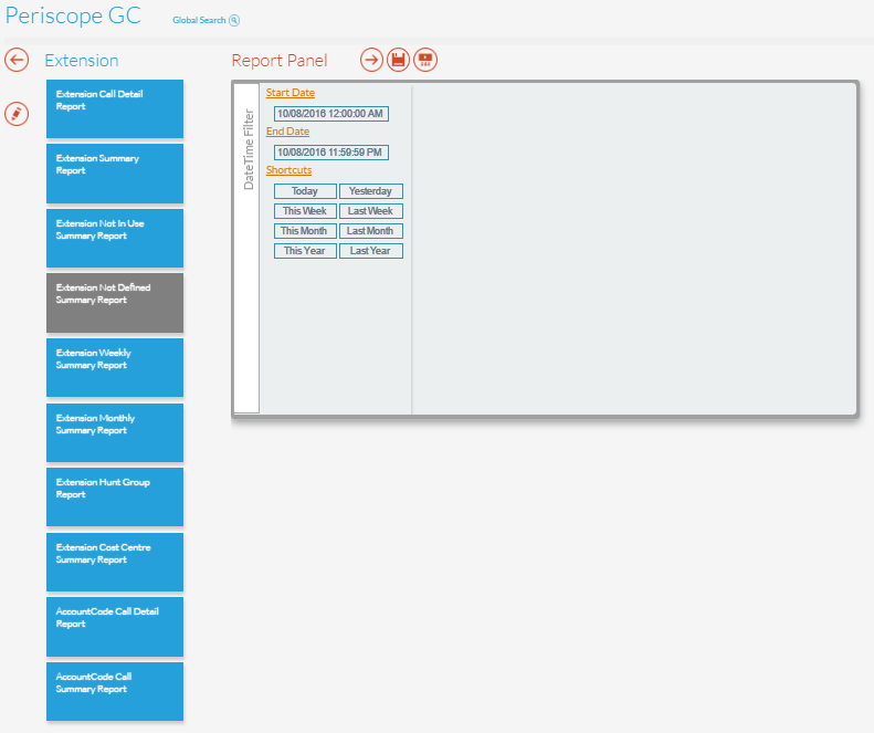 Extension Not Defined Summary Report Panel