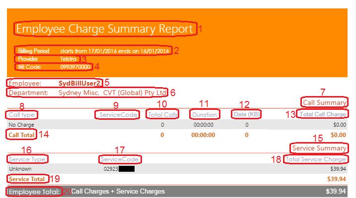 Employee Charge Summary Report