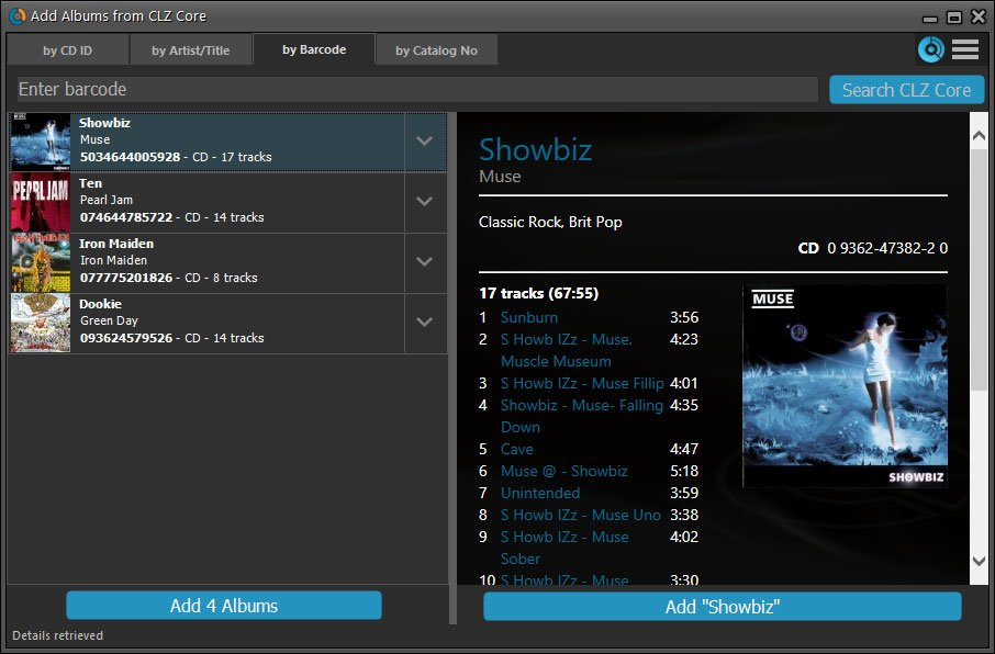 Searching by Barcode - Music Collector for Windows - V19