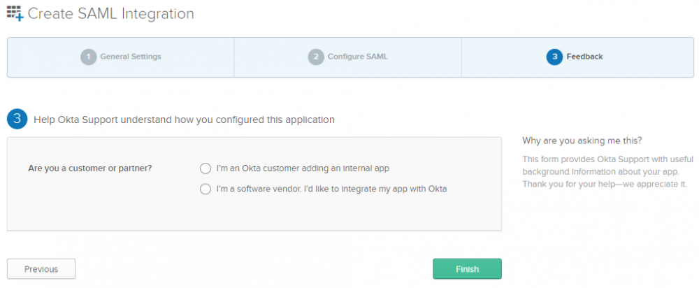 OKTA Configuration for SAML Authentication - EPC - Support