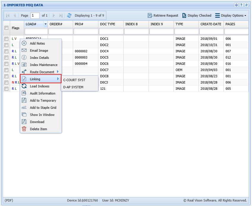 Index List & Right Click Menu - One Look (IBM i / Cloud) - 2