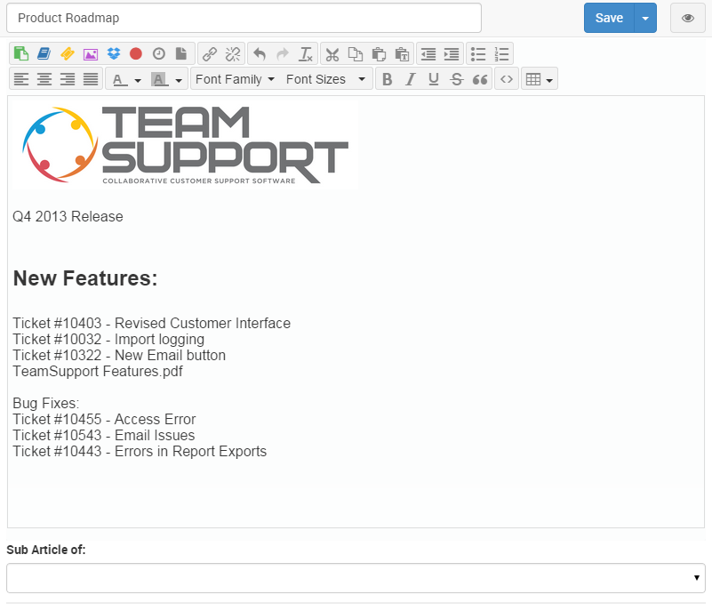 this screen lets you edit the document in a format similar to elsewhere in the teamsupport application most of the editing buttons should be familiar to