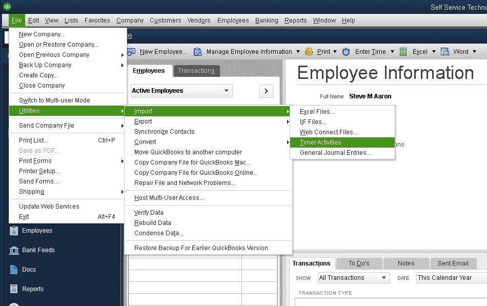 Importing Transactions Into QuickBooks Desktop - Telephone