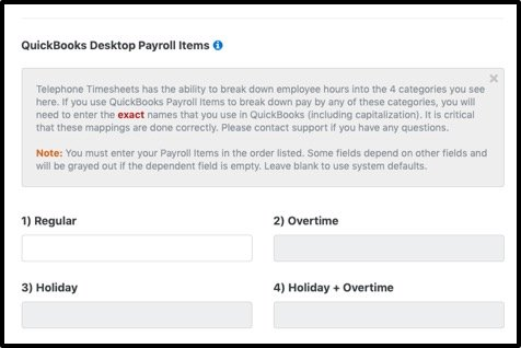 Entering QuickBooks Payroll Items - Telephone Timesheets