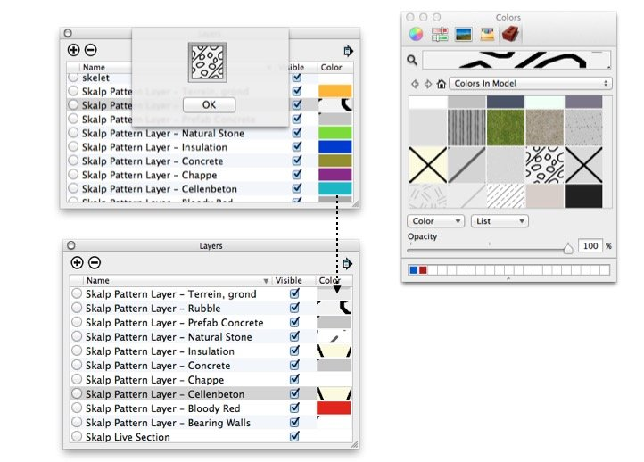Styling 'Skalp Pattern Layer' + SketchUp 'Color by Layer