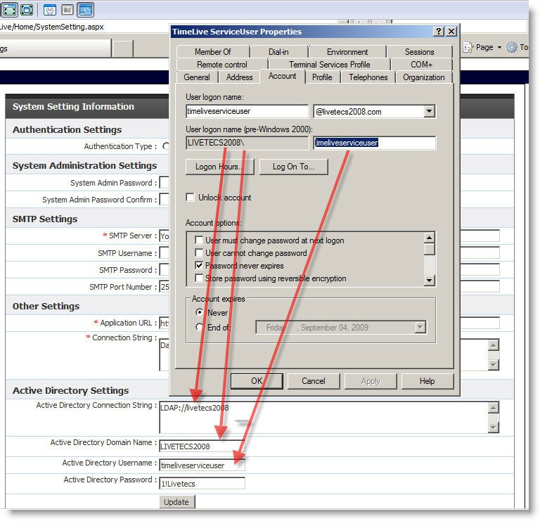 Configuring Active Directory Authentication in TimeLive