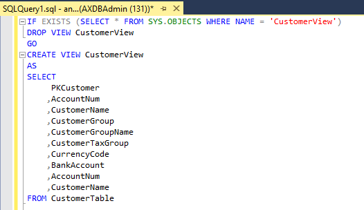 SQL Query example for creating view