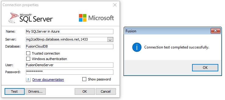 Azure SQL Server connection - Fusion Customer Program - 1