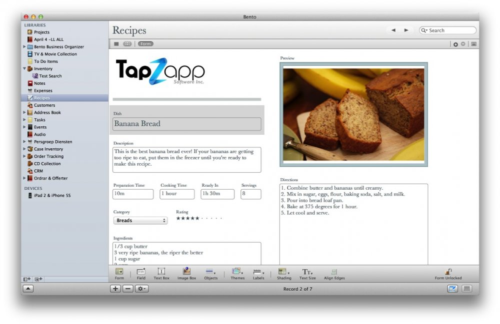 Bento Template Importer - Tap Forms Mac - 5.0