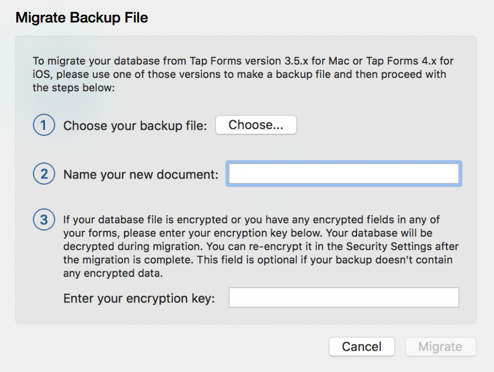 Migrate from Tap Forms 3 5 - Tap Forms Mac - 5 3