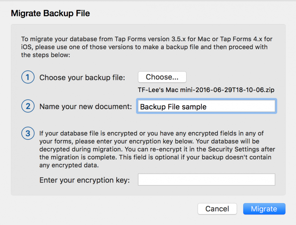 Migrate from Previous Version - Tap Forms Mac - 5 0
