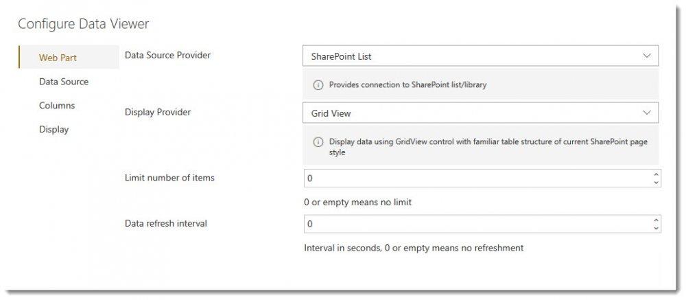 Web Part tab - Lightning Data Viewer App - 1