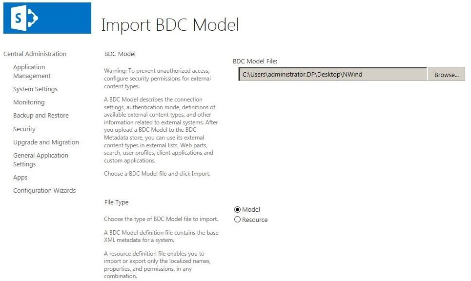 Importing bdc model using central administration web site and browse to where you have saved bdc model and then click import stopboris Image collections