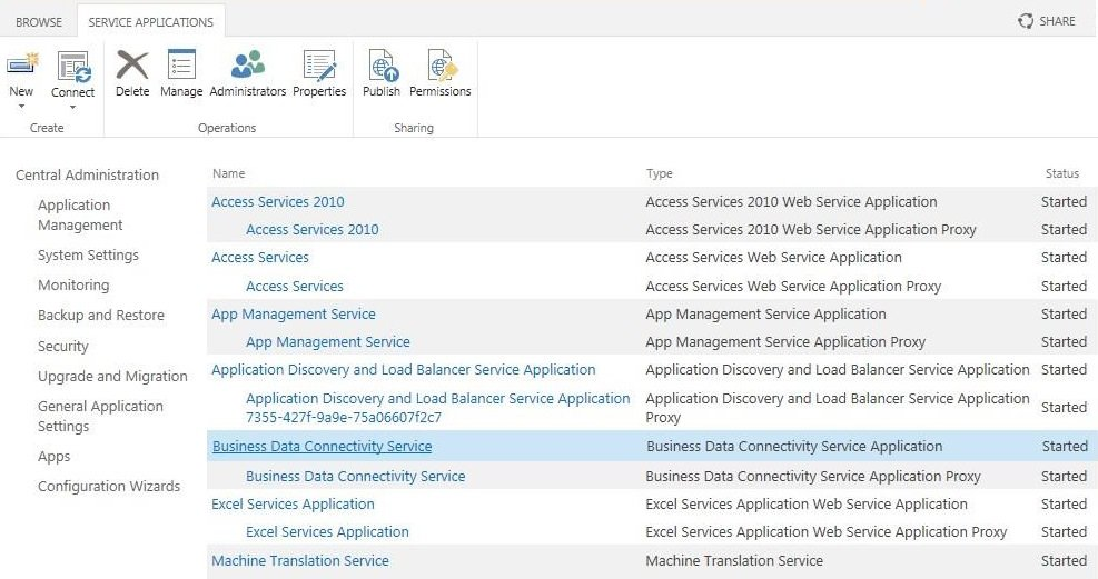 Click the name of the BCS service application