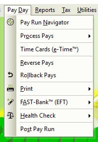 e-PayDay® Payroll Software - Pay Day Menu