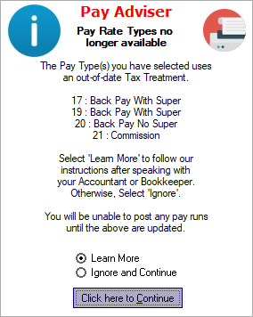 e-PayDay® Payroll Software Obsolete Tax Treatments Alert